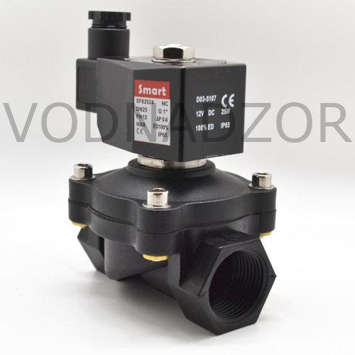 Купить клапан электромагнитный (соленоидный) прямого действия для воды, нормально-закрытый SF6252 DN15-25, пластик, NBR, PN10 бар, 12-220V, Smart - в интернет-магазине Воднадзор