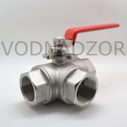 Купить кран шаровой нержавеющая сталь AISI 304 муфтовый трехходовой L-port, HLG15 DN 8-50, PTFE+C, PN 63 бар  - в интернет-магазине Воднадзор